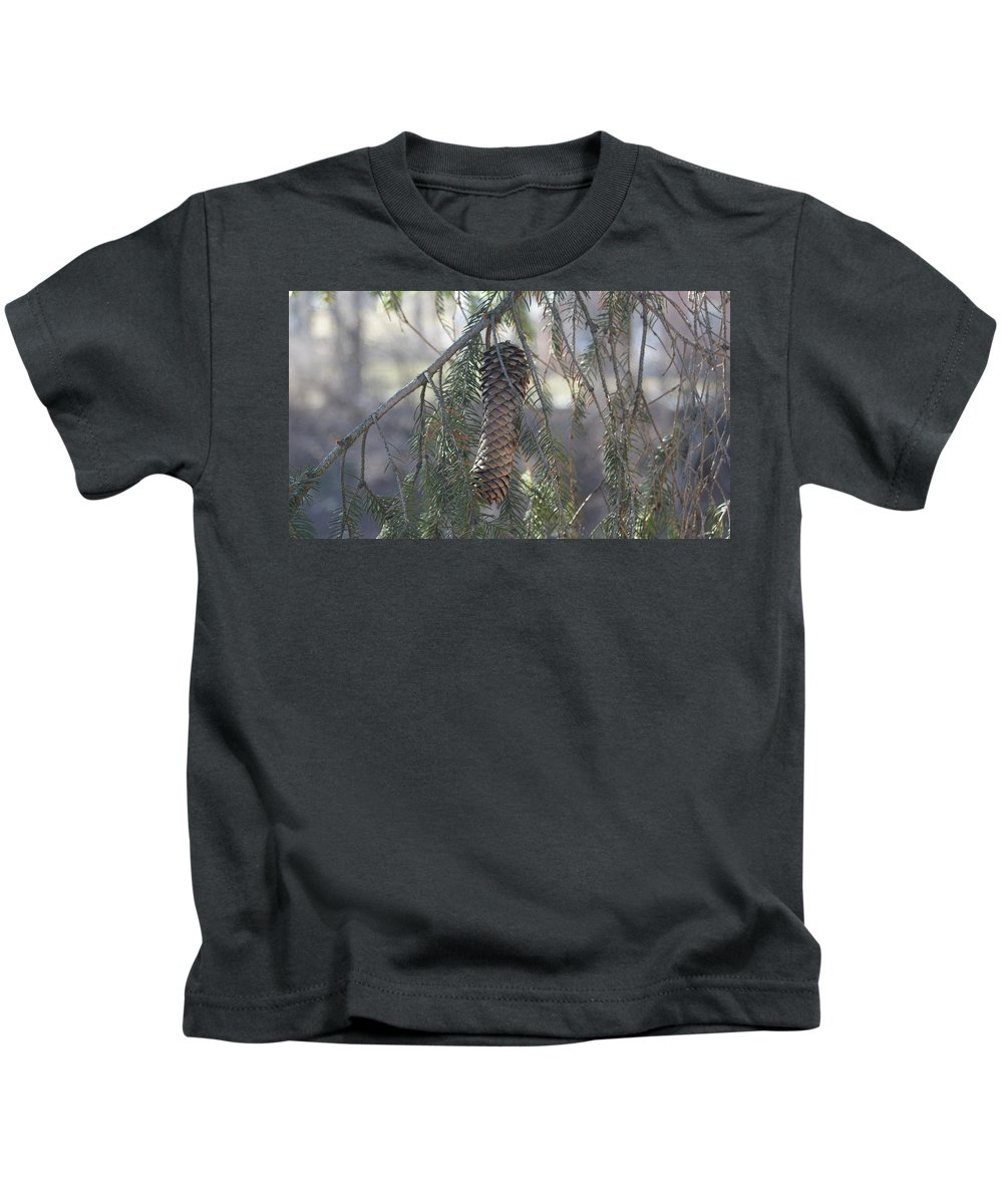 Pine Cone Kids T-Shirt featuring the photograph Hanging Pine Cone by Rob Luzier