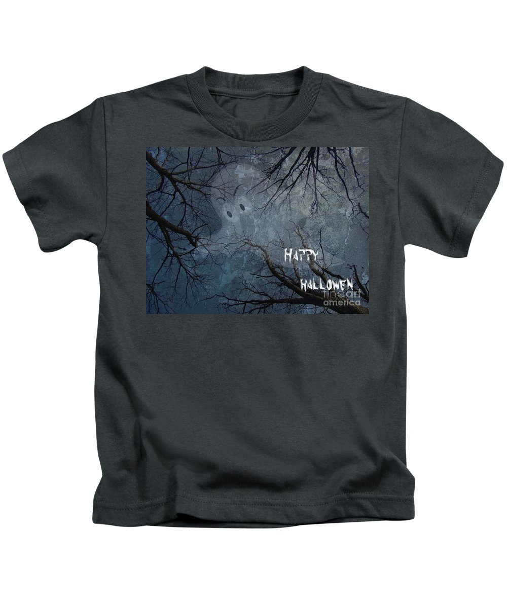 Halloween Kids T-Shirt featuring the photograph Happy Halloween - Ghost In Trees by Mother Nature