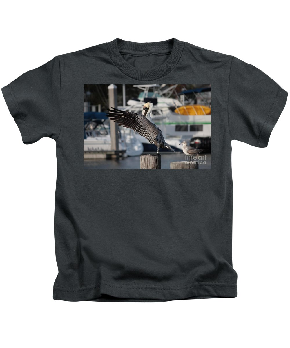 Birds Kids T-Shirt featuring the photograph Harbor Pelican And Gull by Carol Groenen