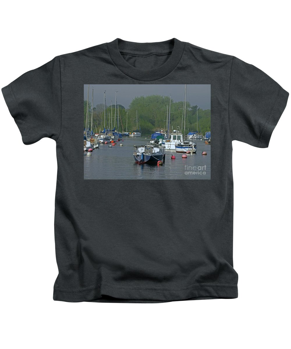 Boats Kids T-Shirt featuring the photograph Harbor Rest by Ann Horn