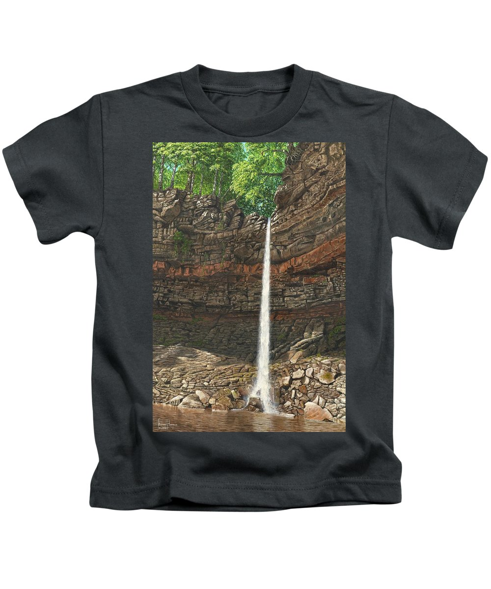 Hardraw Force Kids T-Shirt featuring the painting Hardraw Force Yorkshire by Richard Harpum