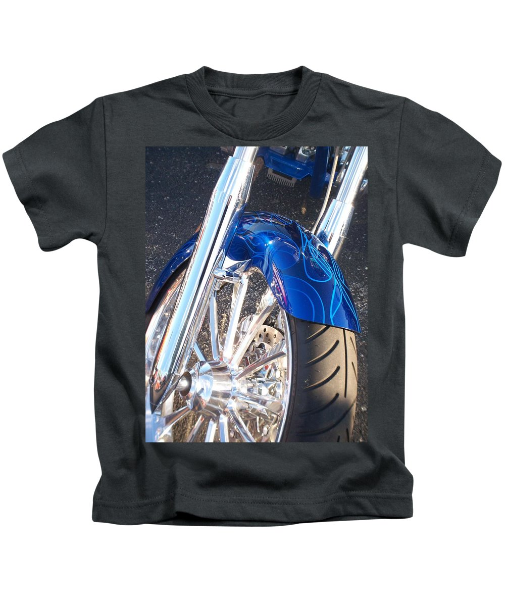 Motorcycles Kids T-Shirt featuring the photograph Harley Close-up Blue Flame by Anita Burgermeister