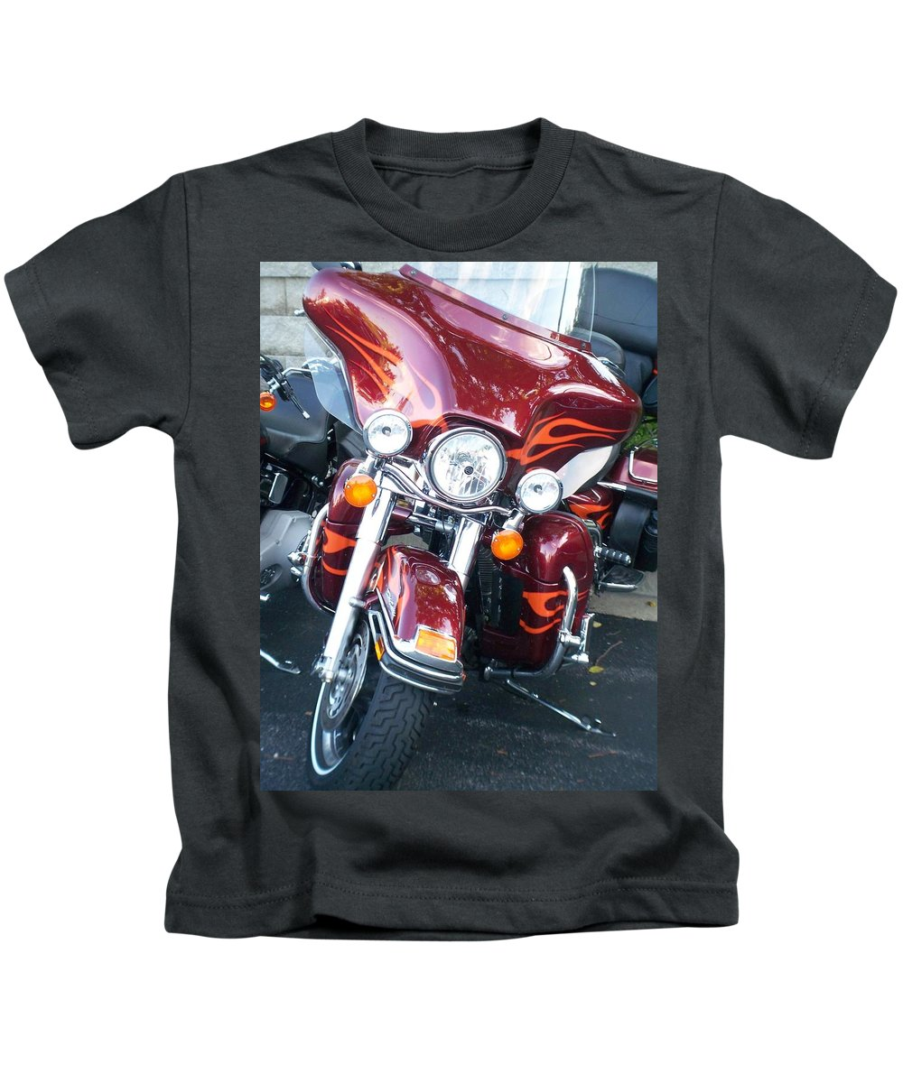 Motorcycles Kids T-Shirt featuring the photograph Harley Red W Orange Flames by Anita Burgermeister