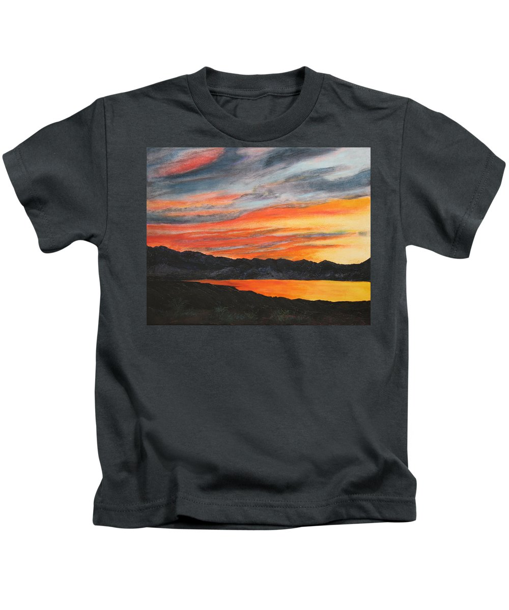 Landscape Kids T-Shirt featuring the painting Havasu Sunset by Jennifer Hillman