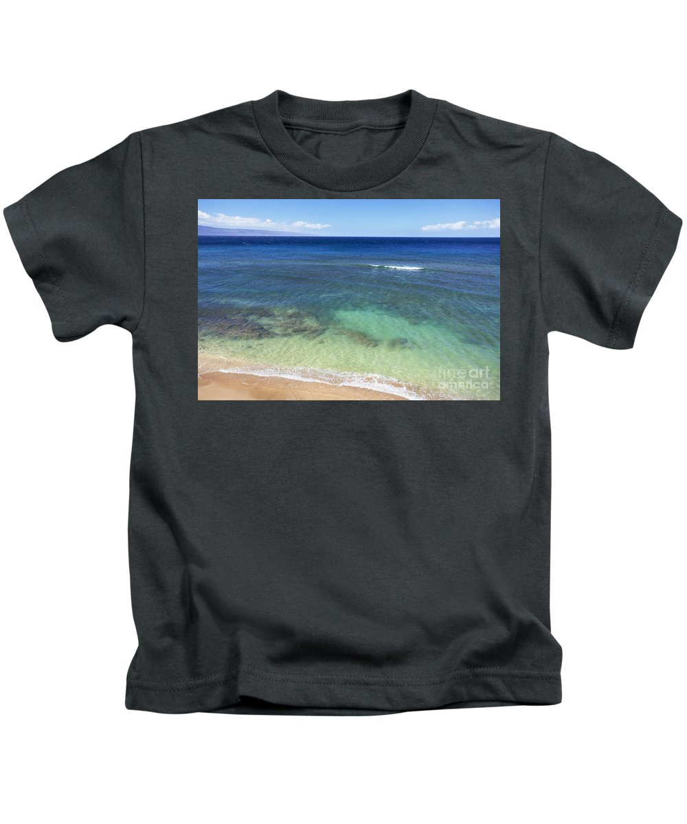 Aerial Kids T-Shirt featuring the photograph Hawaiian Ocean by Jenna Szerlag