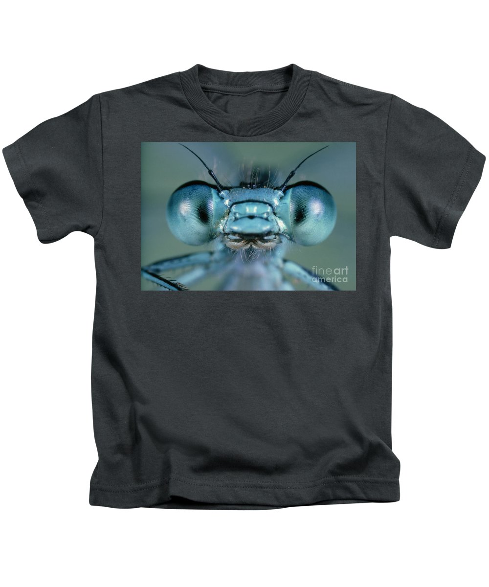 Agrion Kids T-Shirt featuring the photograph Head And Compound Eyes Of Damselfly by Nuridsany Perennou