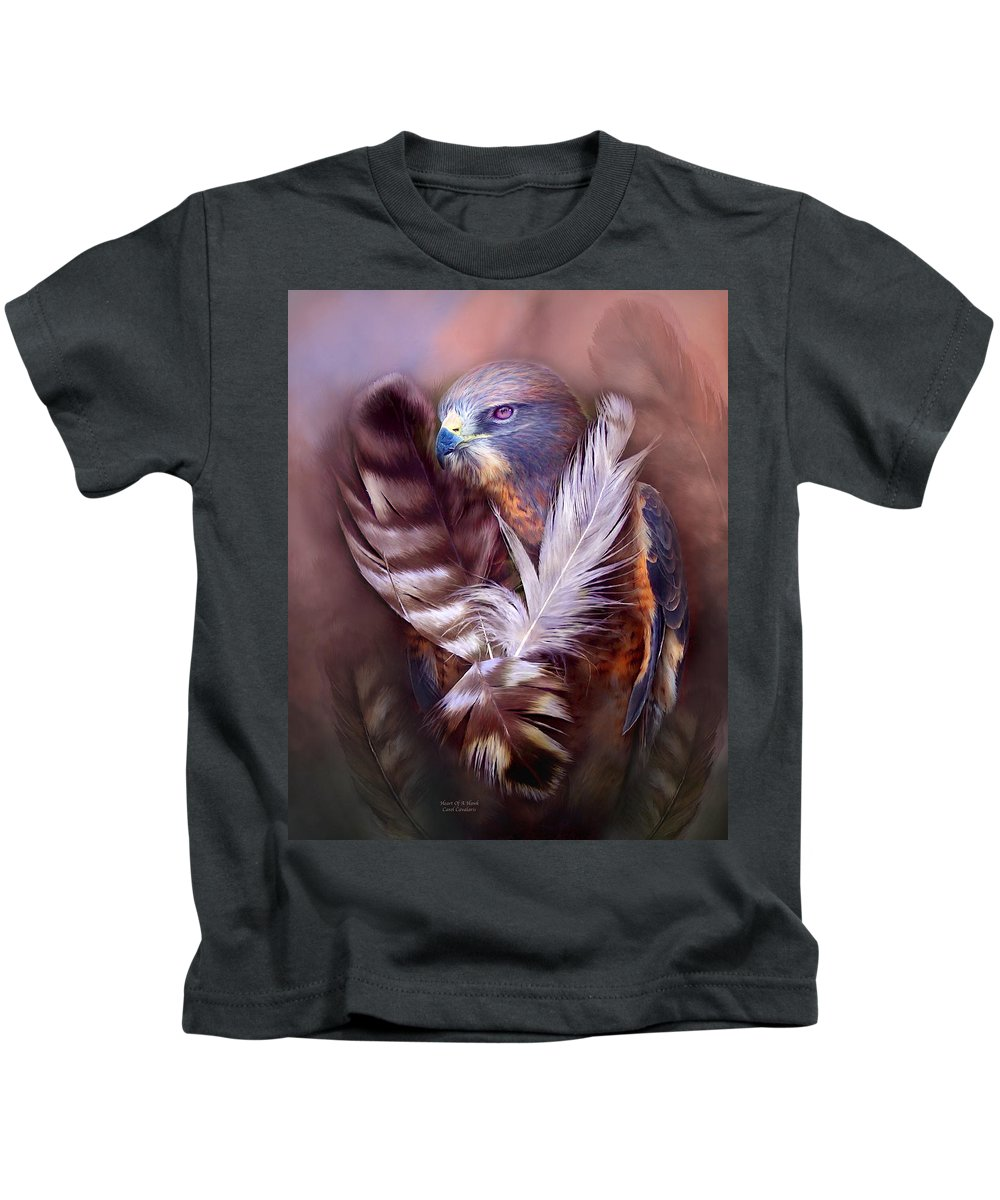 Hawk Kids T-Shirt featuring the mixed media Heart Of A Hawk by Carol Cavalaris