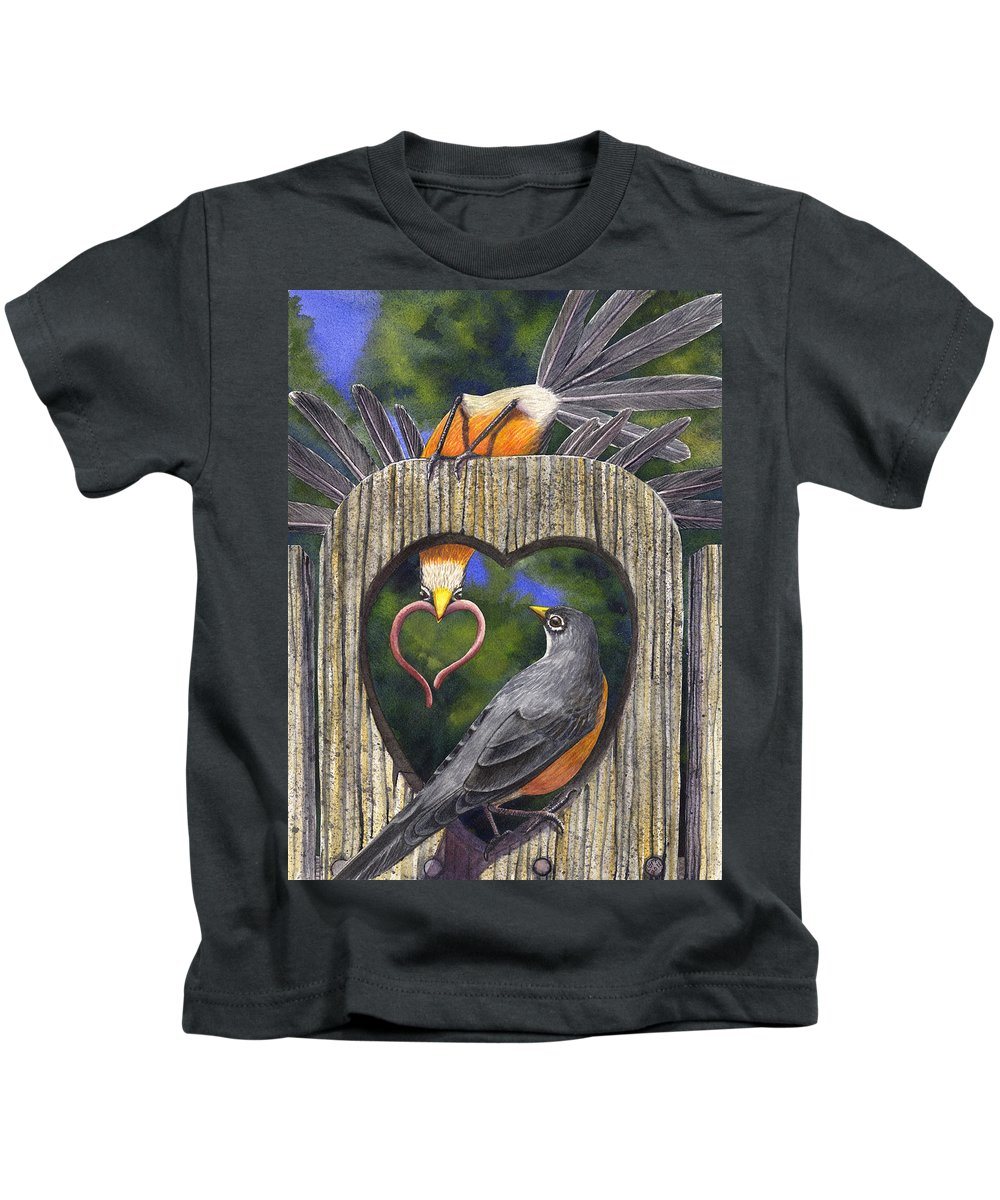 Robin Kids T-Shirt featuring the painting Heartfelt by Catherine G McElroy