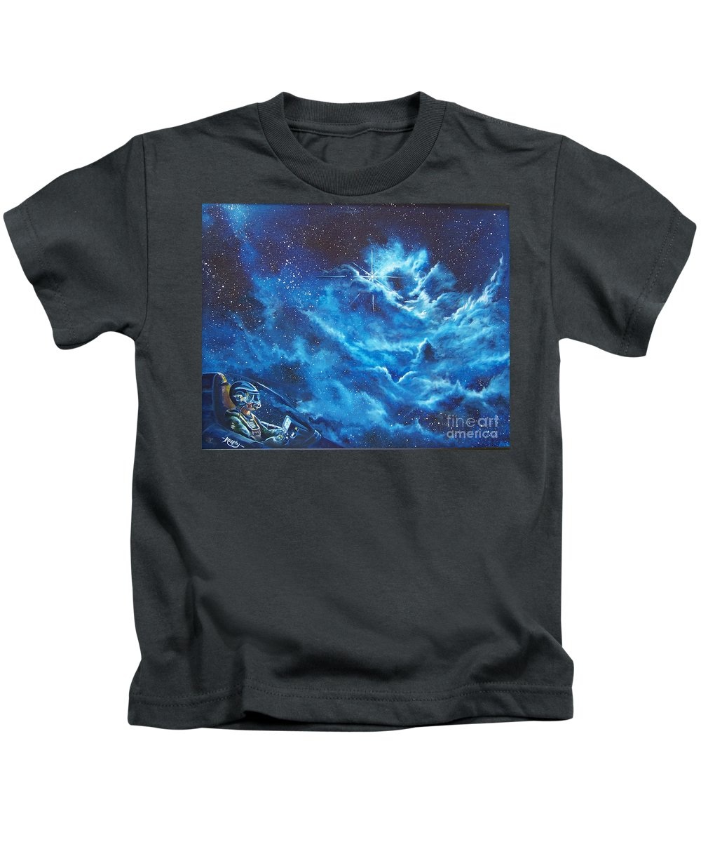Astro Kids T-Shirt featuring the painting Heavens Gate by Murphy Elliott