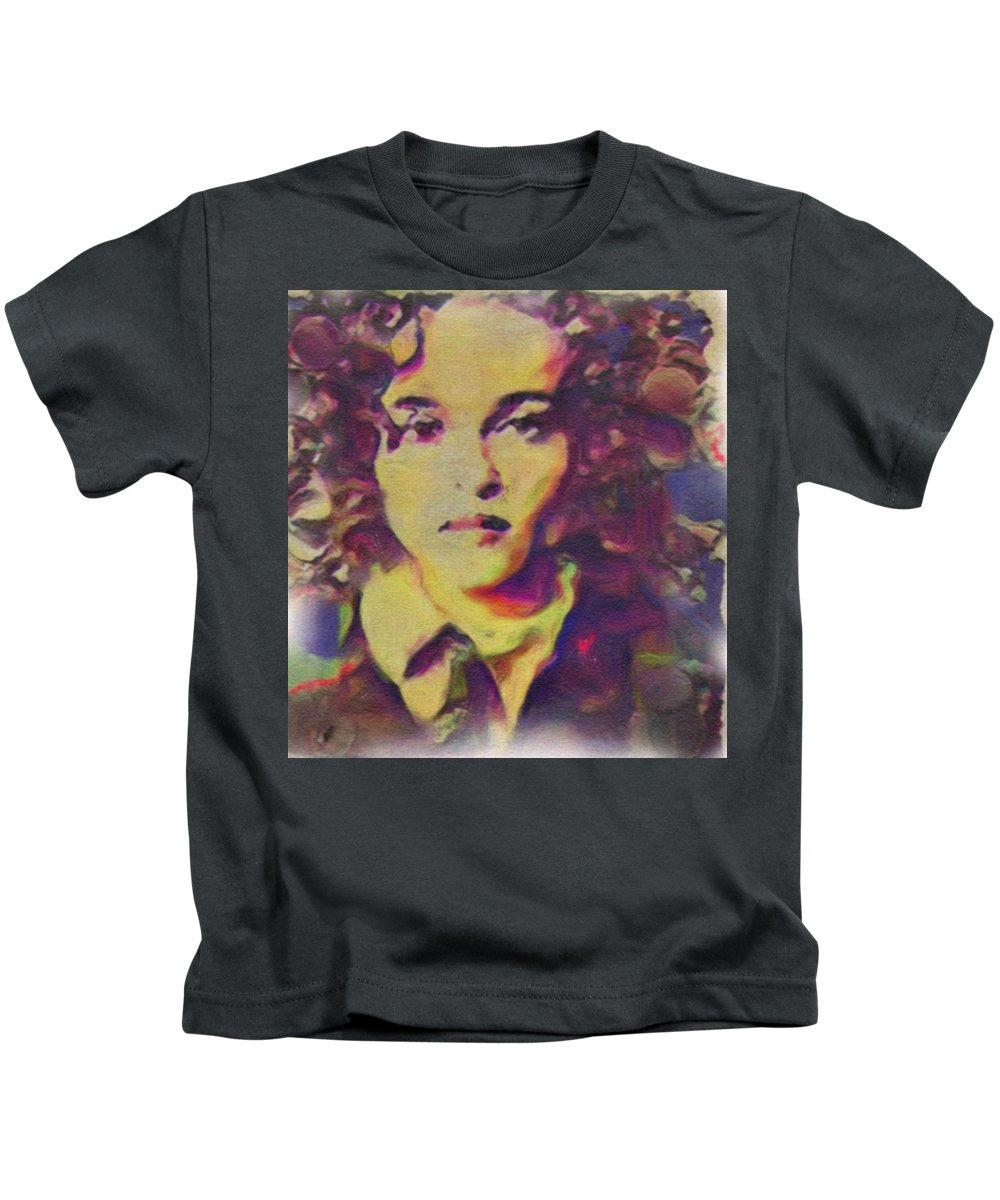 Helena Bonham Carter Kids T-Shirt featuring the painting Helena by Janice MacLellan