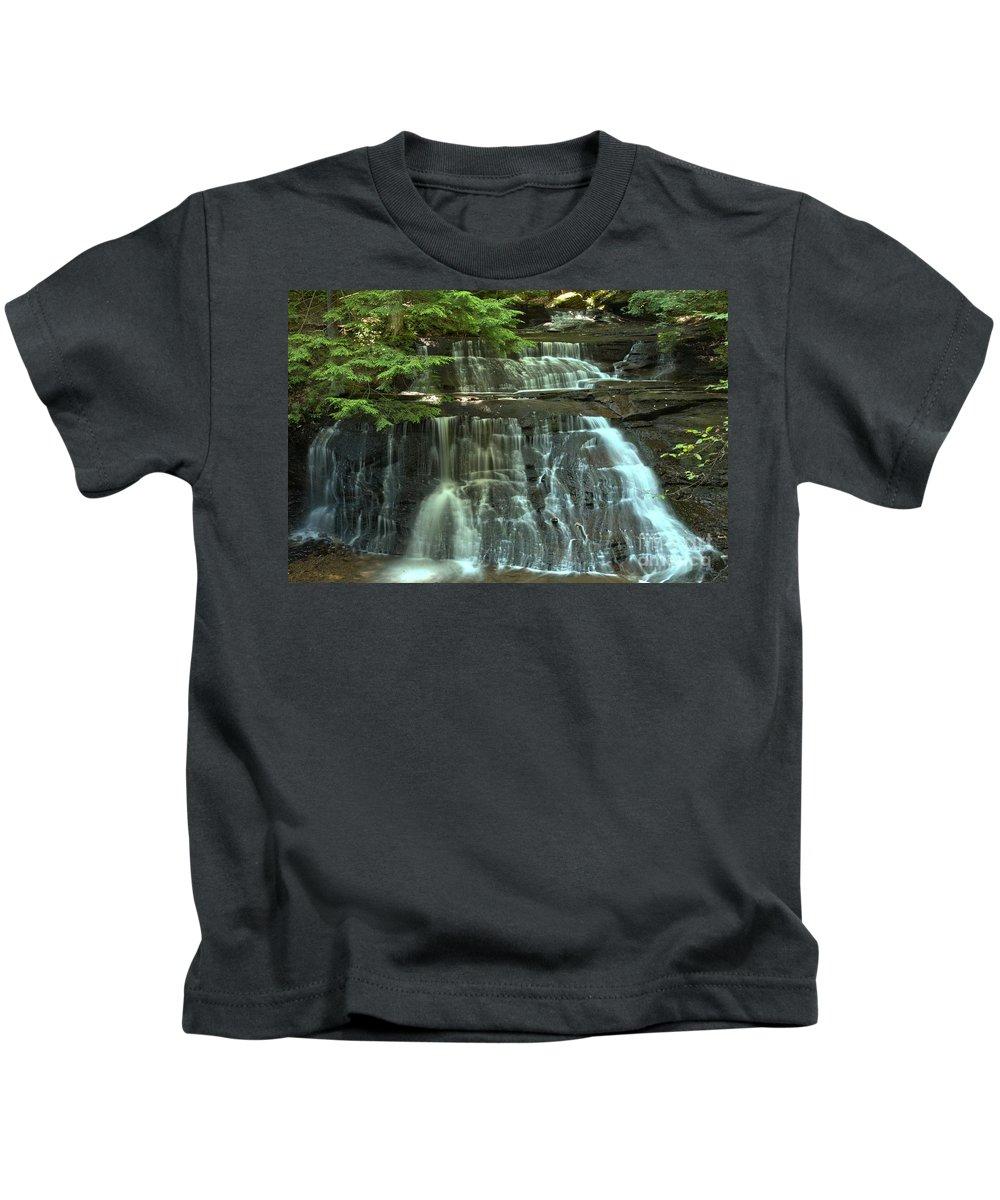 Hells Hollow Falls Kids T-Shirt featuring the photograph Hells Hollow Falls by Adam Jewell