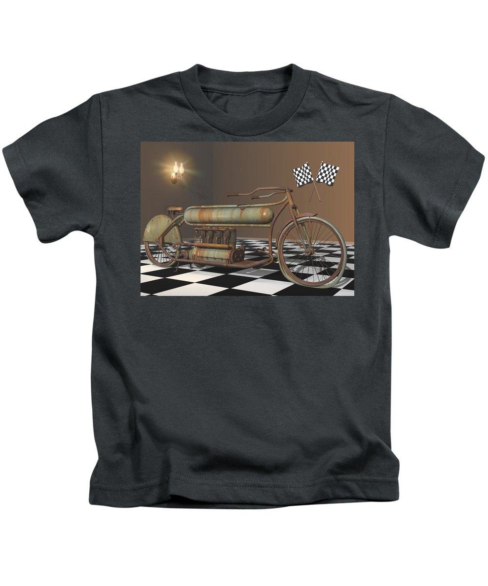 Motorcycle Kids T-Shirt featuring the digital art Henderson Special by Stuart Swartz