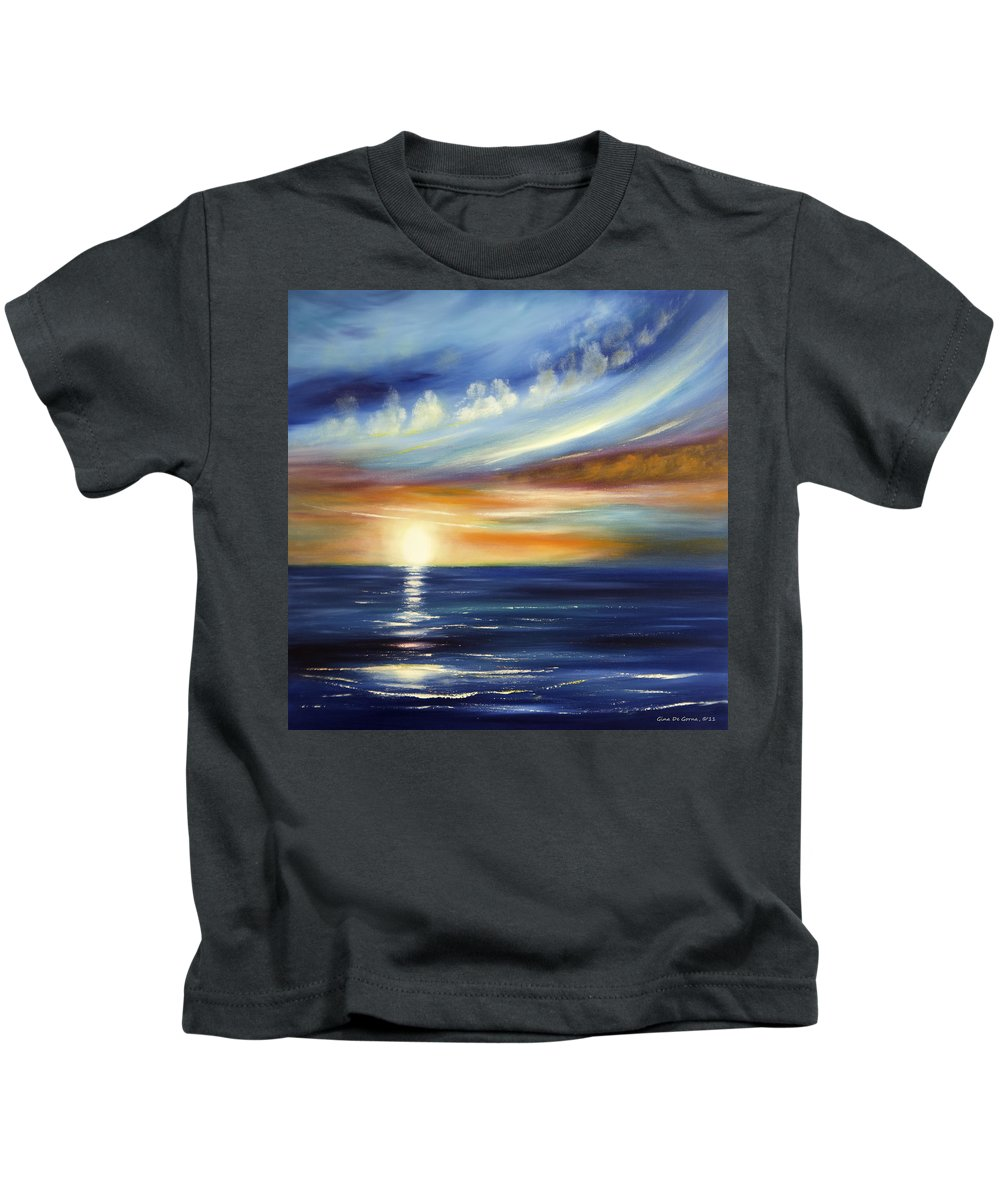Sunset Kids T-Shirt featuring the painting Here It Goes 2 by Gina De Gorna