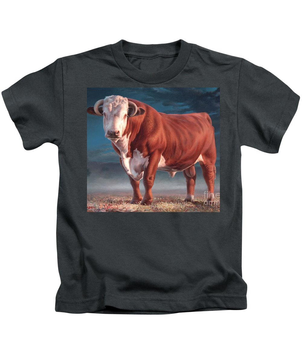 Hereford Bull Kids T-Shirt featuring the painting Hereford Bull by Hans Droog
