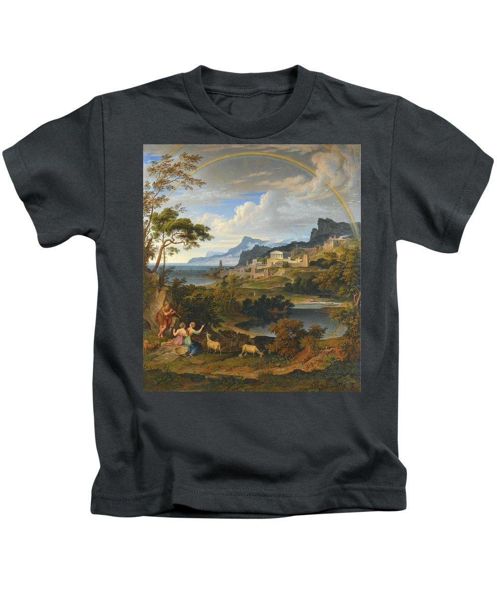 Joseph Anton Koch Kids T-Shirt featuring the painting Heroic Landscape With Rainbow by Joseph Anton Koch