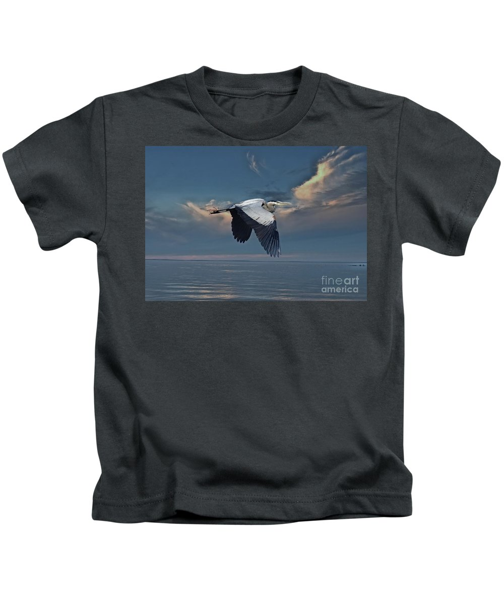 Heron Kids T-Shirt featuring the photograph Heron Night Flight by Andrea Kollo