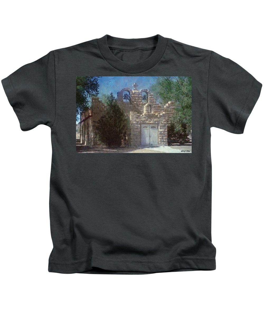 Architecture Kids T-Shirt featuring the painting High Desert Church by Jeffrey Kolker