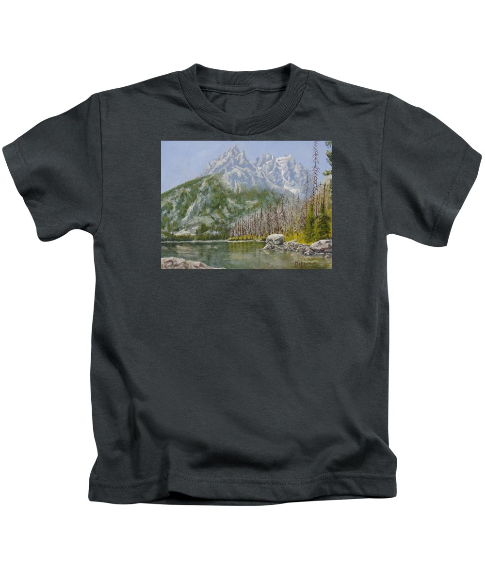 Landscape Kids T-Shirt featuring the painting Highwater Pines by Michael Dillon