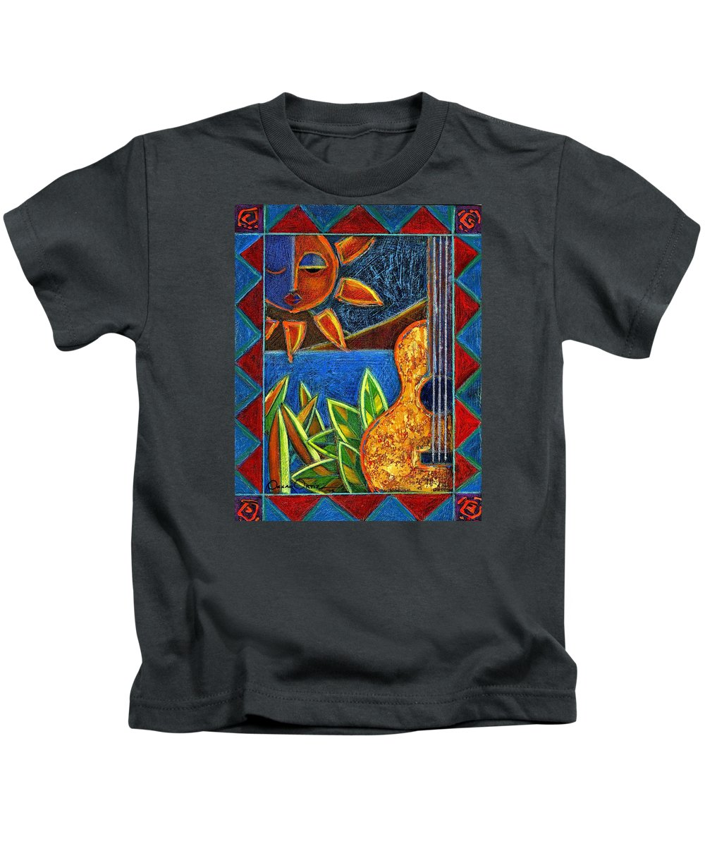Guitar Kids T-Shirt featuring the painting Hispanic Heritage by Oscar Ortiz