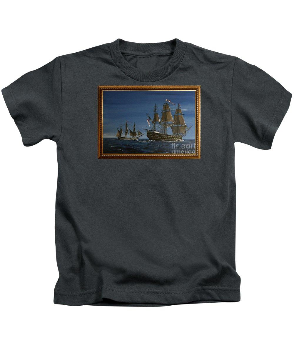 Battle Of Trafalgar Kids T-Shirt featuring the painting Hms Victory Dawn by Richard John Holden RA