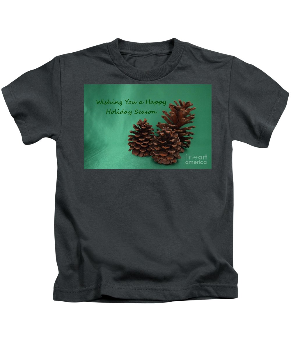Pine Cones Kids T-Shirt featuring the photograph Holiday Pine Cones by Mary Deal