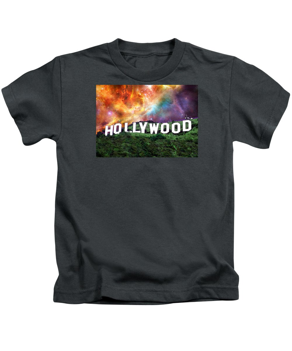 Hollywood Kids T-Shirt featuring the painting Hollywood - Home Of The Stars By Sharon Cummings by Sharon Cummings