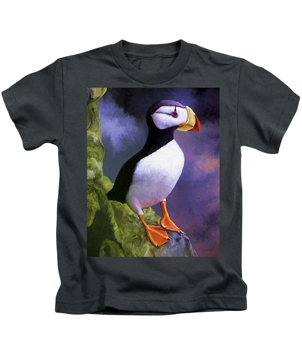 Animal Kids T-Shirt featuring the painting Horned Puffin by David Wagner