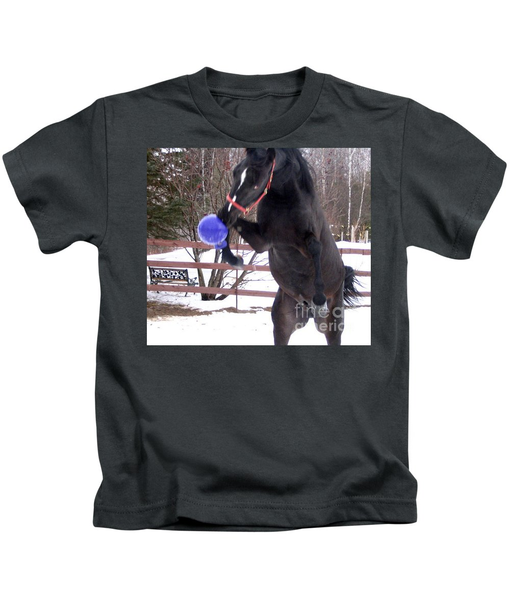 Horse Kids T-Shirt featuring the photograph Horse Playing Ball by Line Gagne