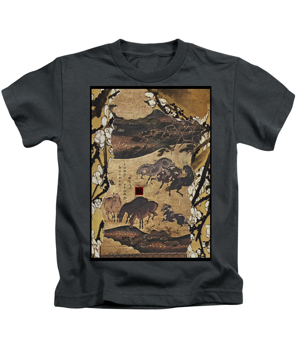 Collage Kids T-Shirt featuring the digital art Horses by John Vincent Palozzi