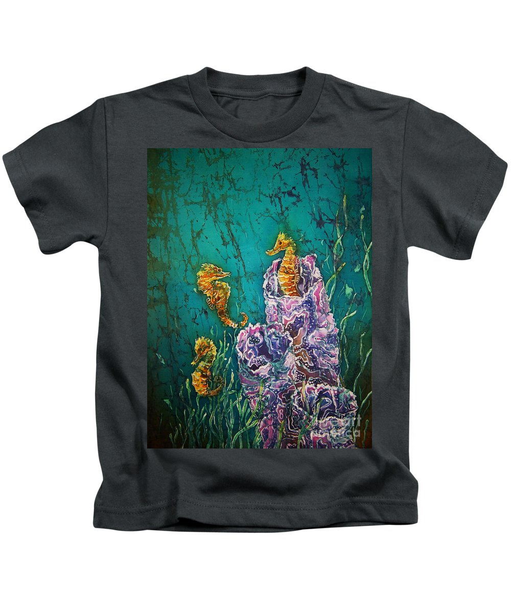 Seahorses Kids T-Shirt featuring the tapestry - textile Horsin Around by Sue Duda