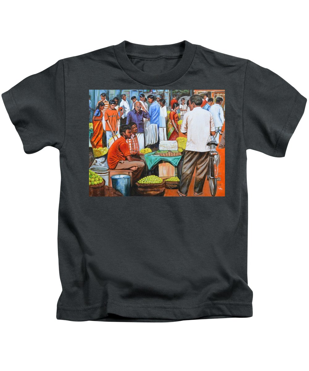 Hot Kids T-Shirt featuring the painting Hot Deals by Usha Shantharam