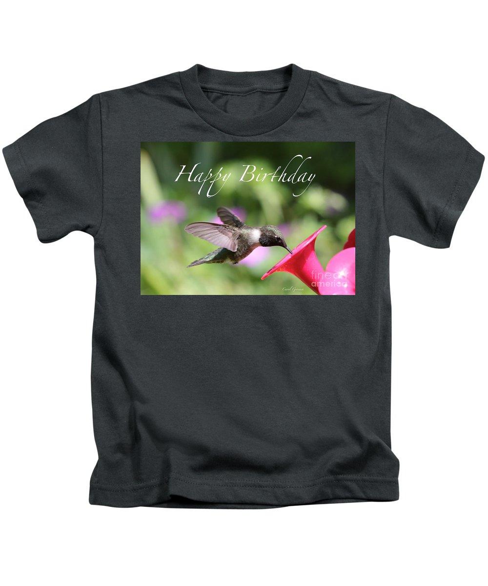 Hummingbird Kids T-Shirt featuring the photograph Hummingbird at Feeder Birthday Card by Carol Groenen