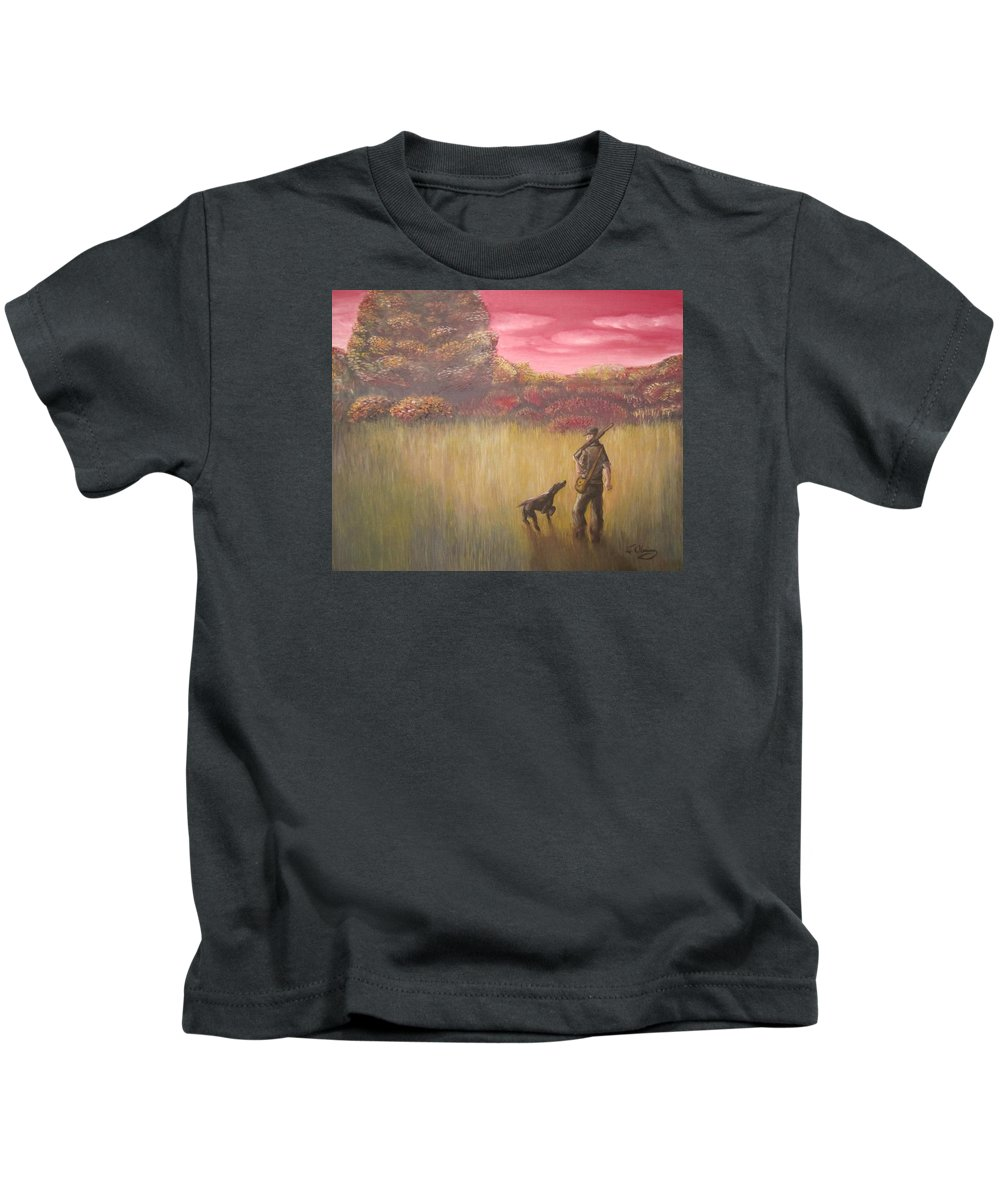 Hunter. Pointer Kids T-Shirt featuring the painting Hunter And Pointer by Jeffrey Oleniacz