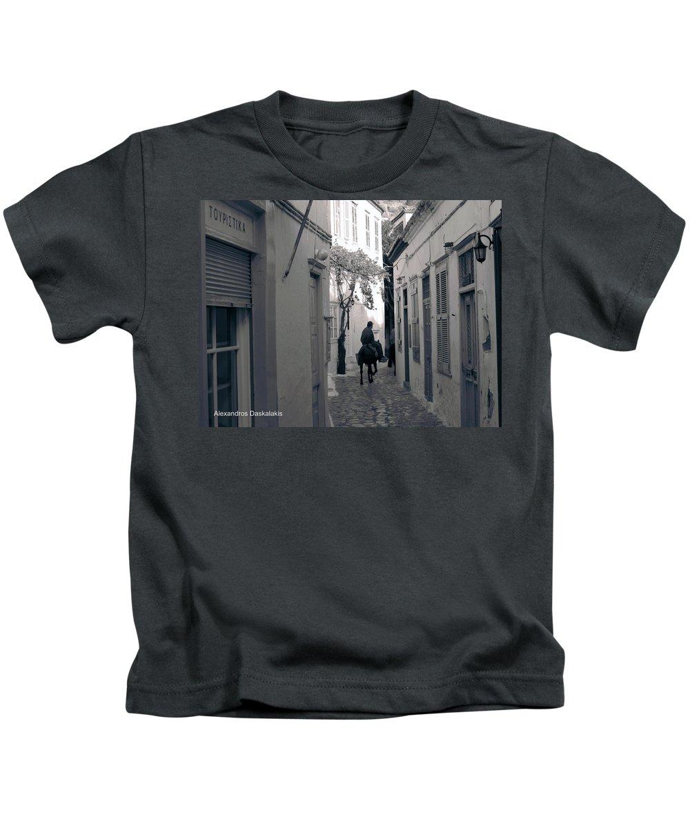 Alexandros Daskalakis Kids T-Shirt featuring the photograph Hydra Backstreet by Alexandros Daskalakis