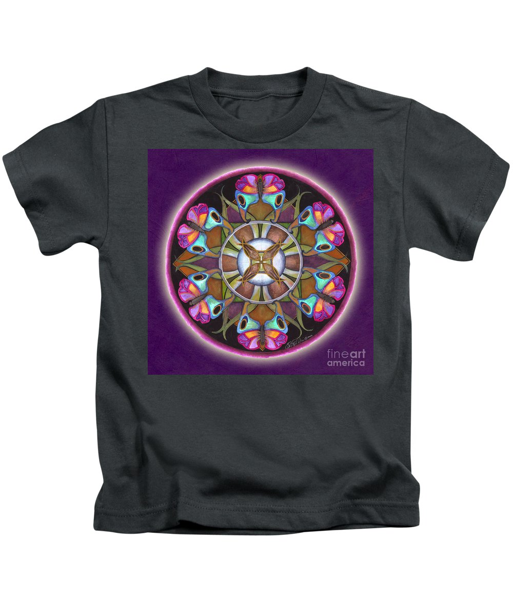 Mandala Art Kids T-Shirt featuring the painting Illusion Of Self Mandala by Jo Thomas Blaine