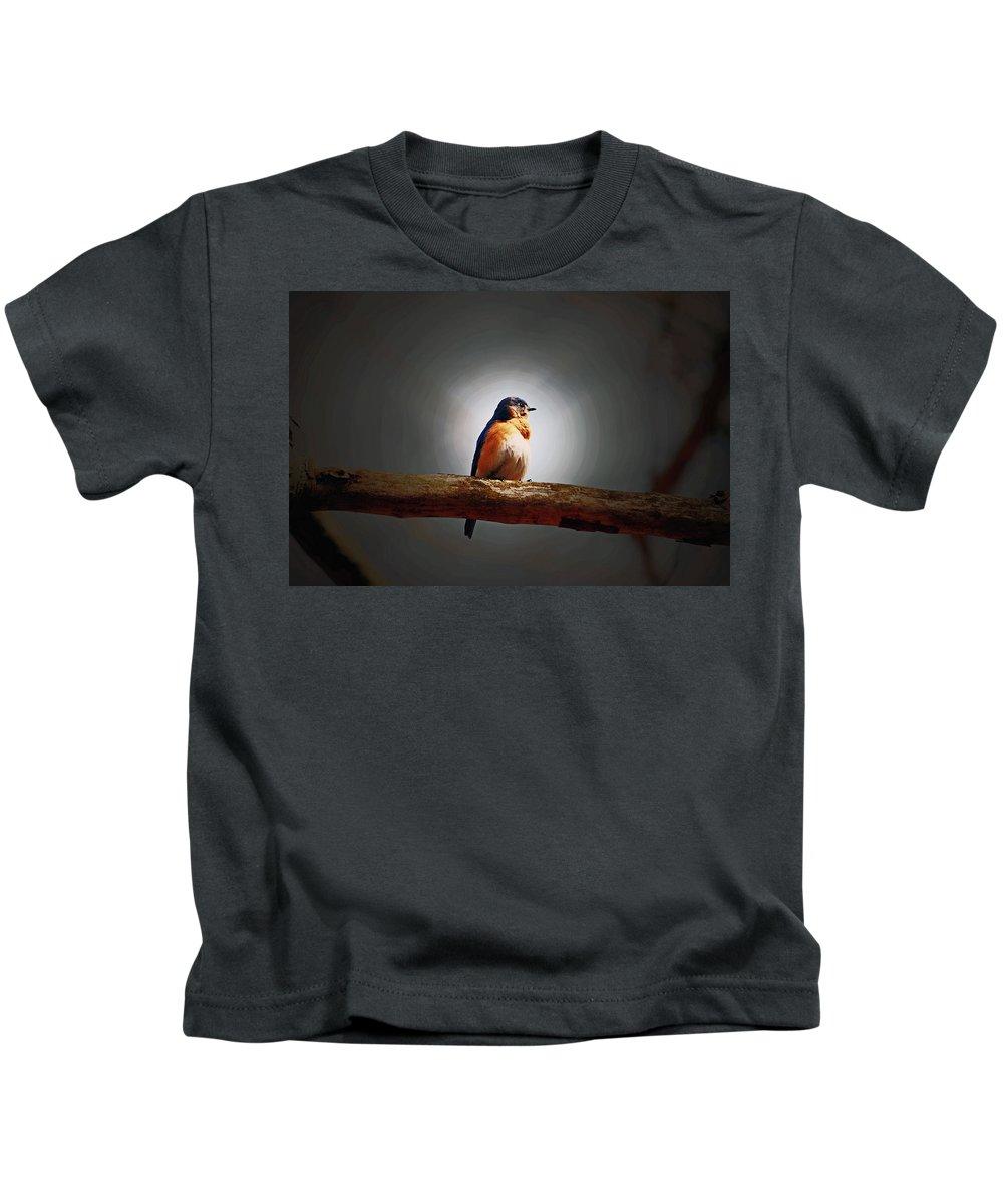 Bluebird Kids T-Shirt featuring the photograph I'm A Bluebird And I'm Beautiful by Lori Tambakis