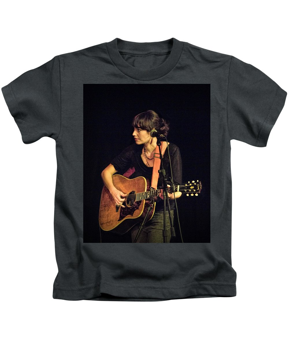 Art Kids T-Shirt featuring the photograph In Concert With Folk Singer Pieta Brown by Randall Nyhof