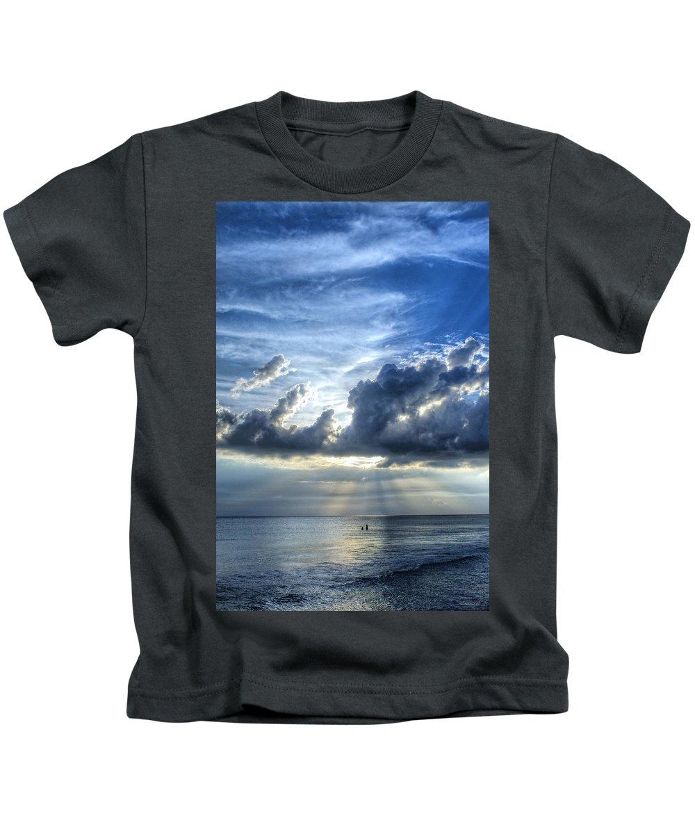 Landscape Kids T-Shirt featuring the painting In Heaven's Light - Beach Ocean Art By Sharon Cummings by Sharon Cummings