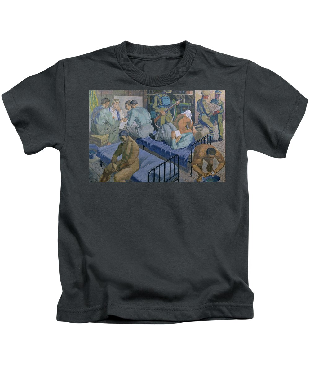 National Service Kids T-Shirt featuring the painting In The Barracks, 1989 by Osmund Caine