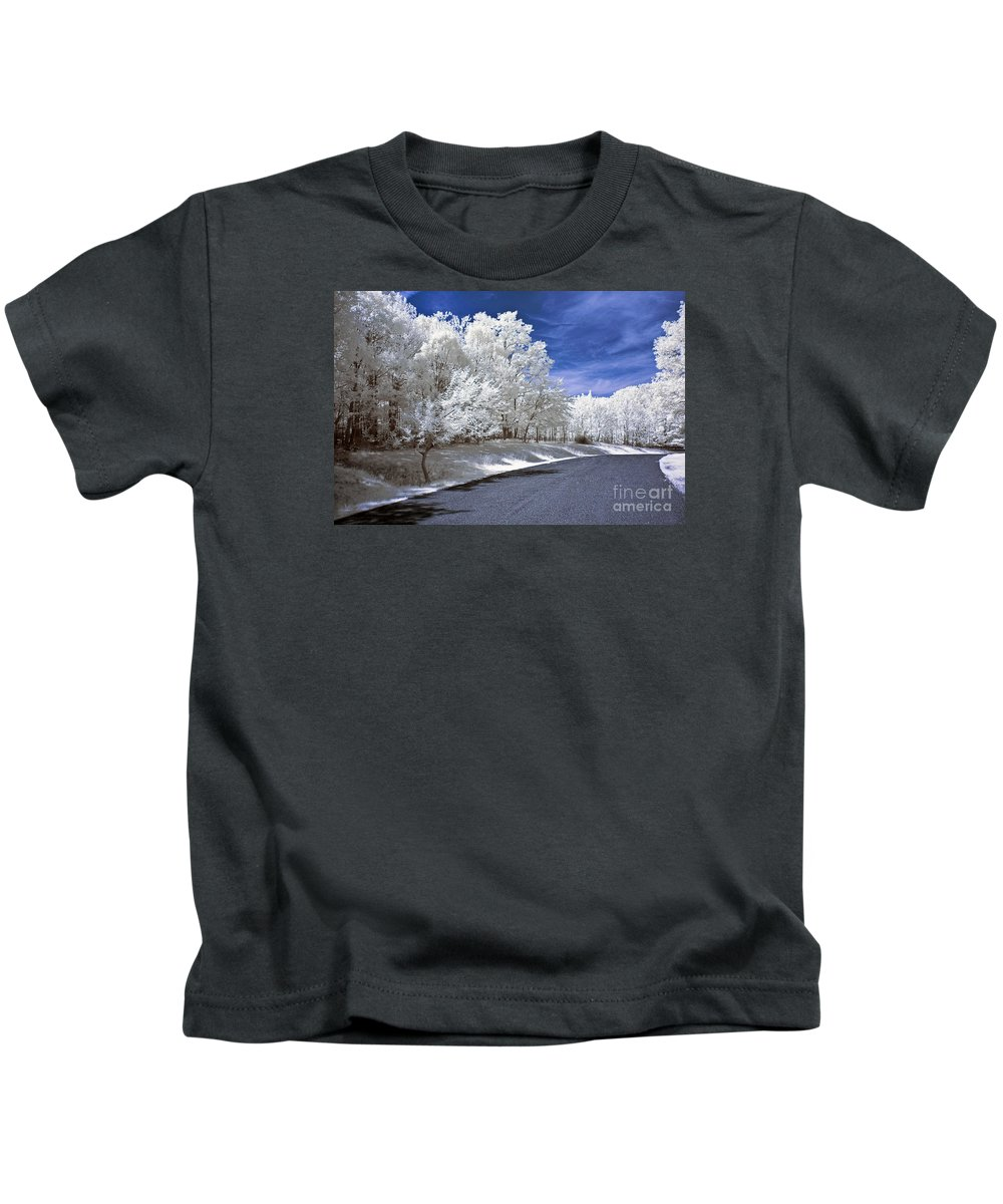 Landscape Kids T-Shirt featuring the photograph Infrared Road by Anthony Sacco