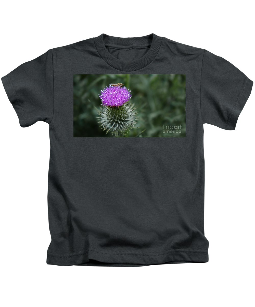 Thistle Kids T-Shirt featuring the photograph Insect On A Thistle by Mickey At Rawshutterbug