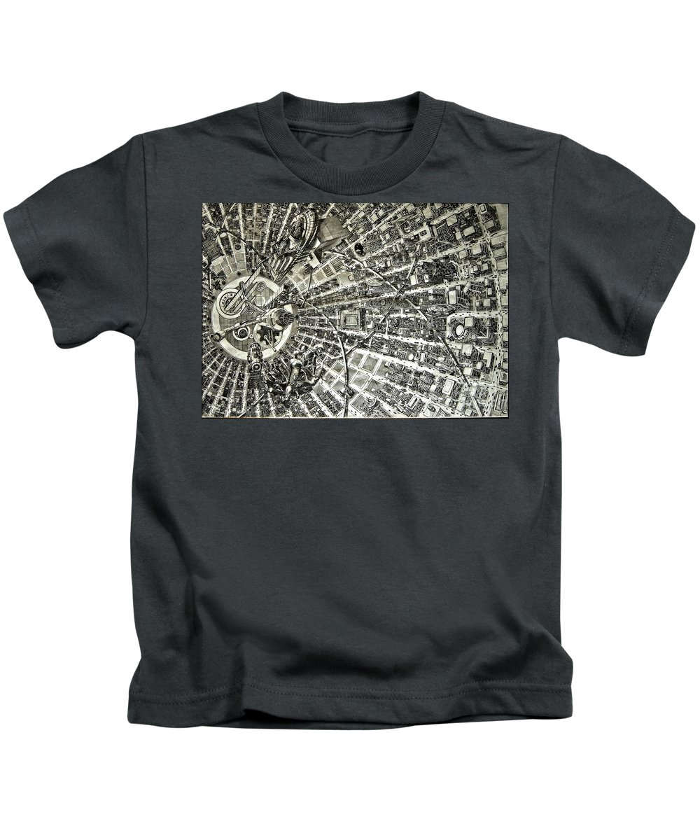 Cityscape Kids T-Shirt featuring the drawing Inside Orbital City by Murphy Elliott