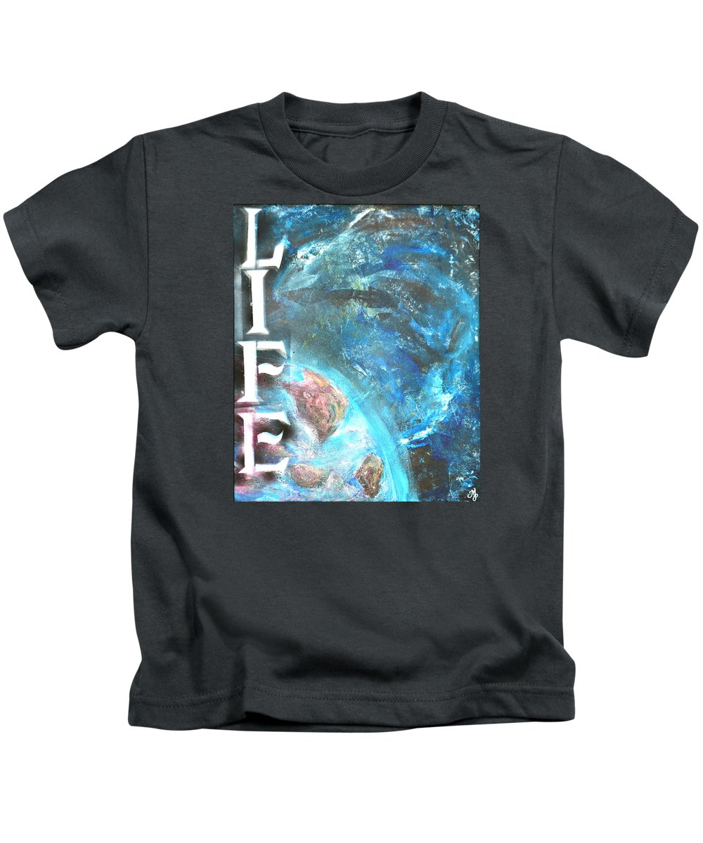 Life Kids T-Shirt featuring the painting Intelligent Life by Meganne Peck