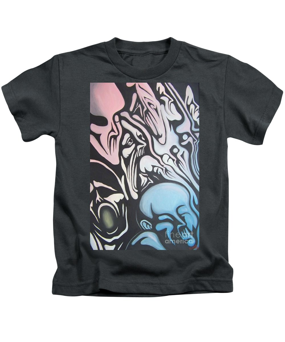 Tmad Kids T-Shirt featuring the painting Intensity by Michael TMAD Finney