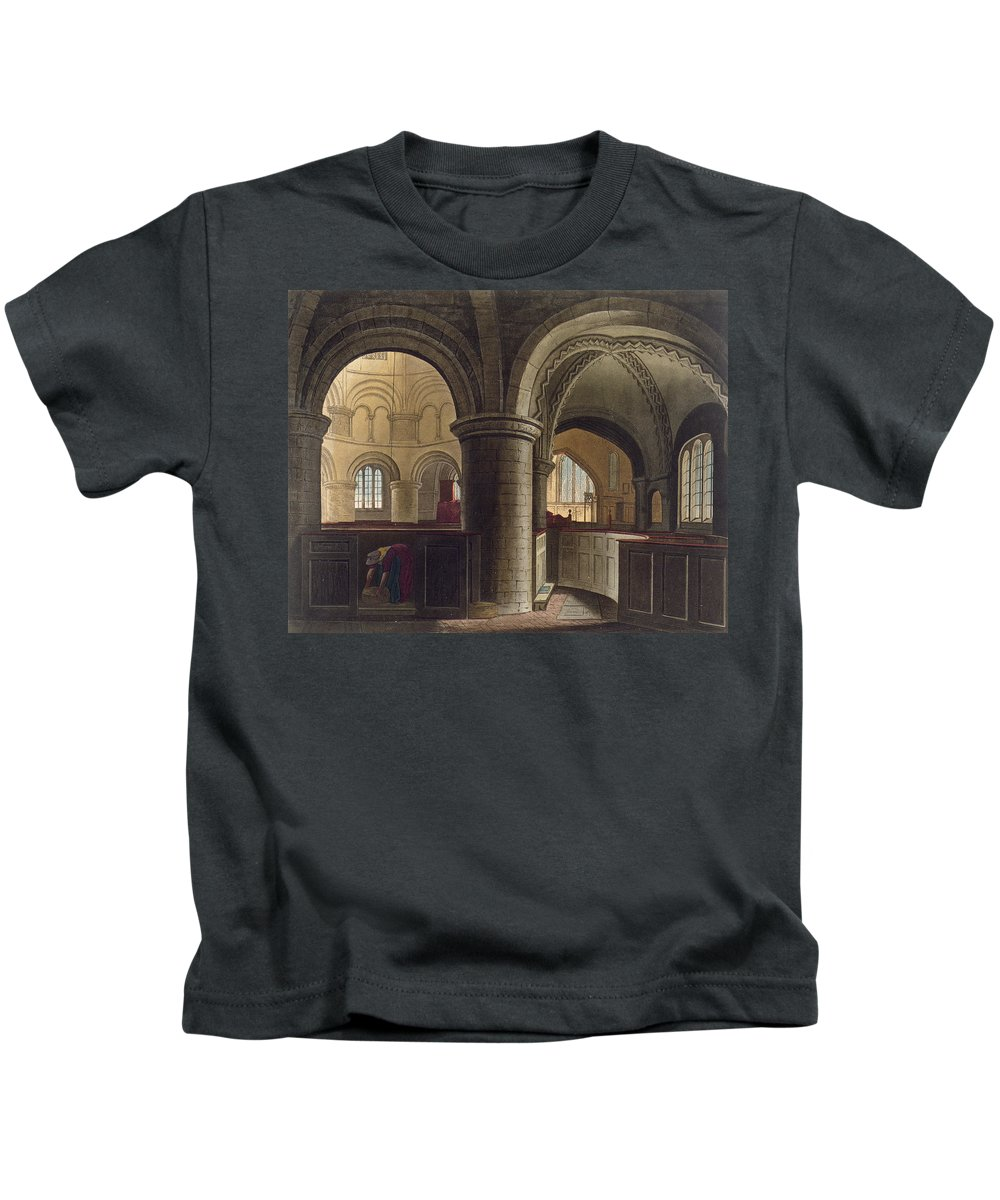 Pier Kids T-Shirt featuring the drawing Interior Of The Church Of The Holy by Augustus Charles Pugin