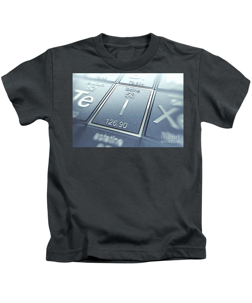 Atomic Number Kids T-Shirt featuring the photograph Iodine Chemical Element by Science Picture Co