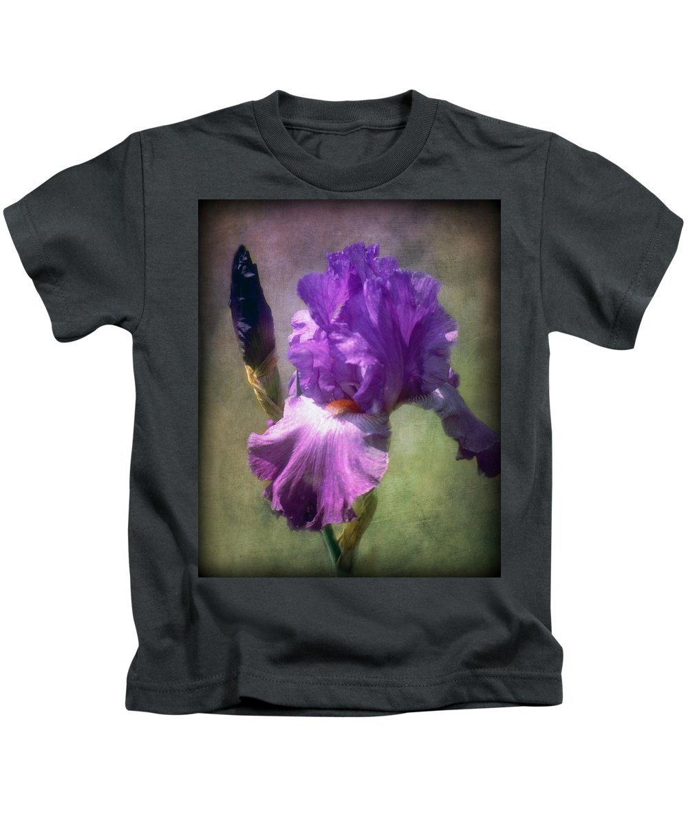 Painting Kids T-Shirt featuring the photograph Iris Flower by Lilia D