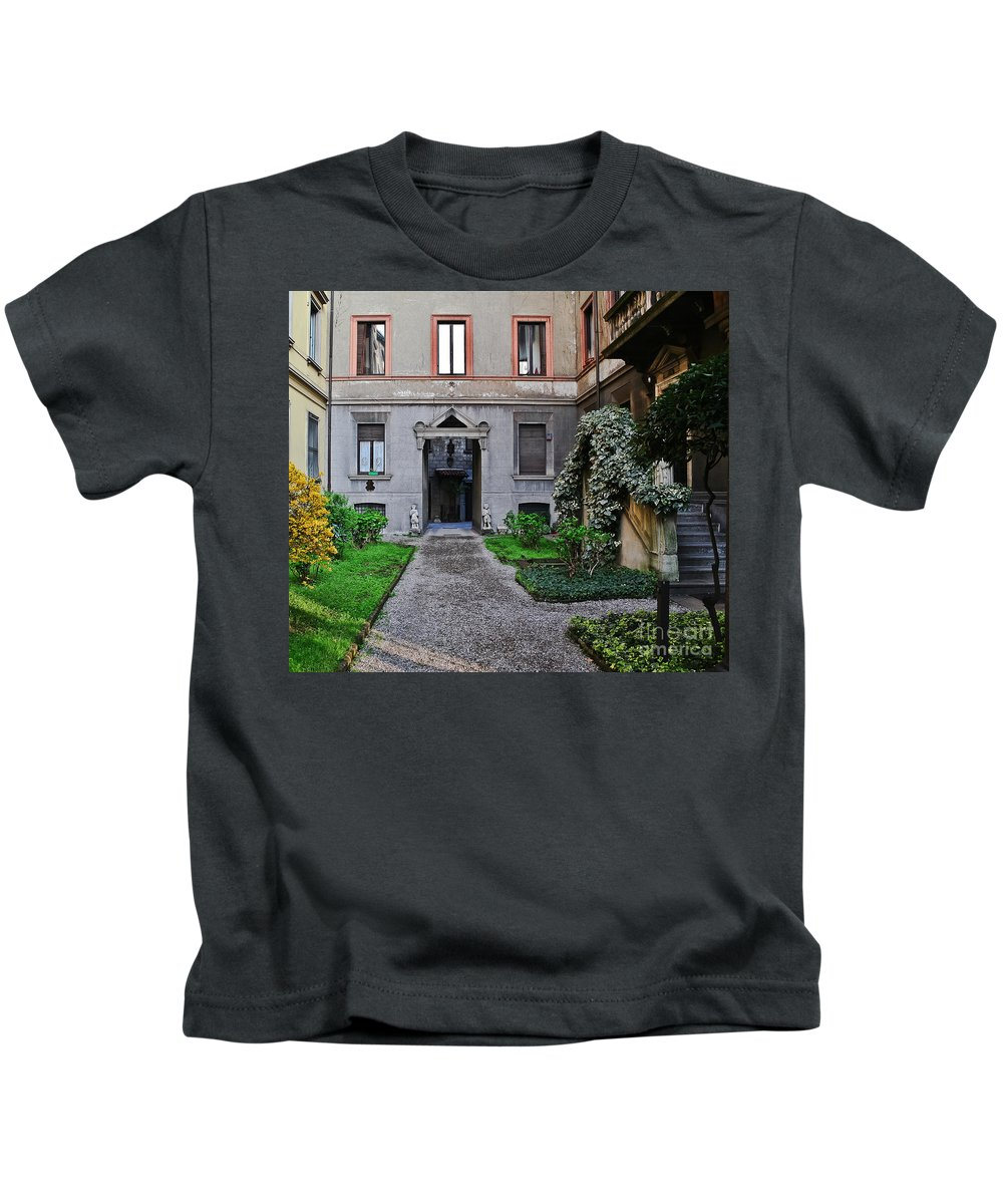 Travel Kids T-Shirt featuring the photograph Italian Courtyard by Elvis Vaughn