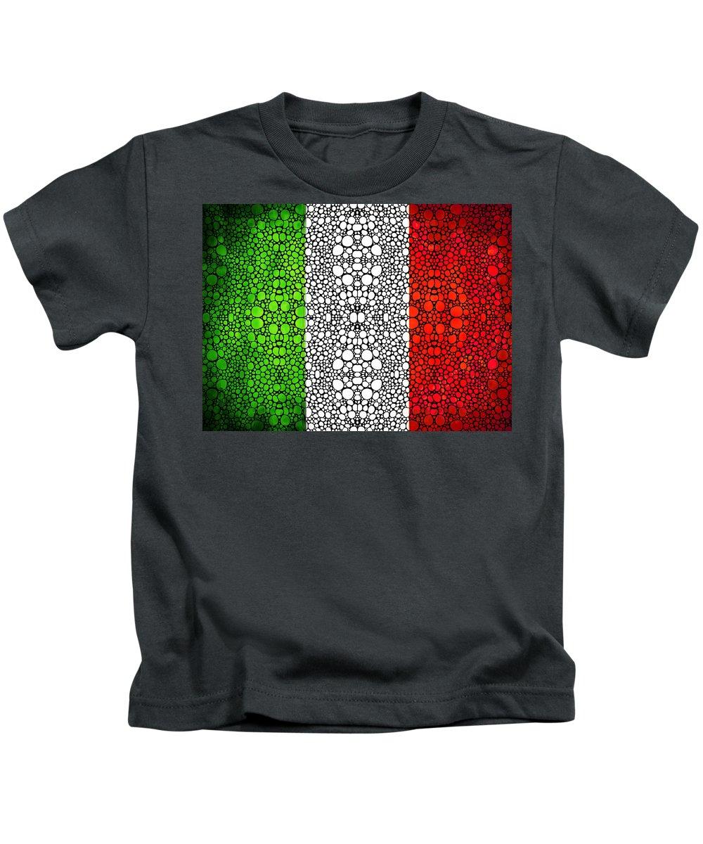 Italian Kids T-Shirt featuring the painting Italian Flag - Italy Stone Rock'd Art By Sharon Cummings Italia by Sharon Cummings