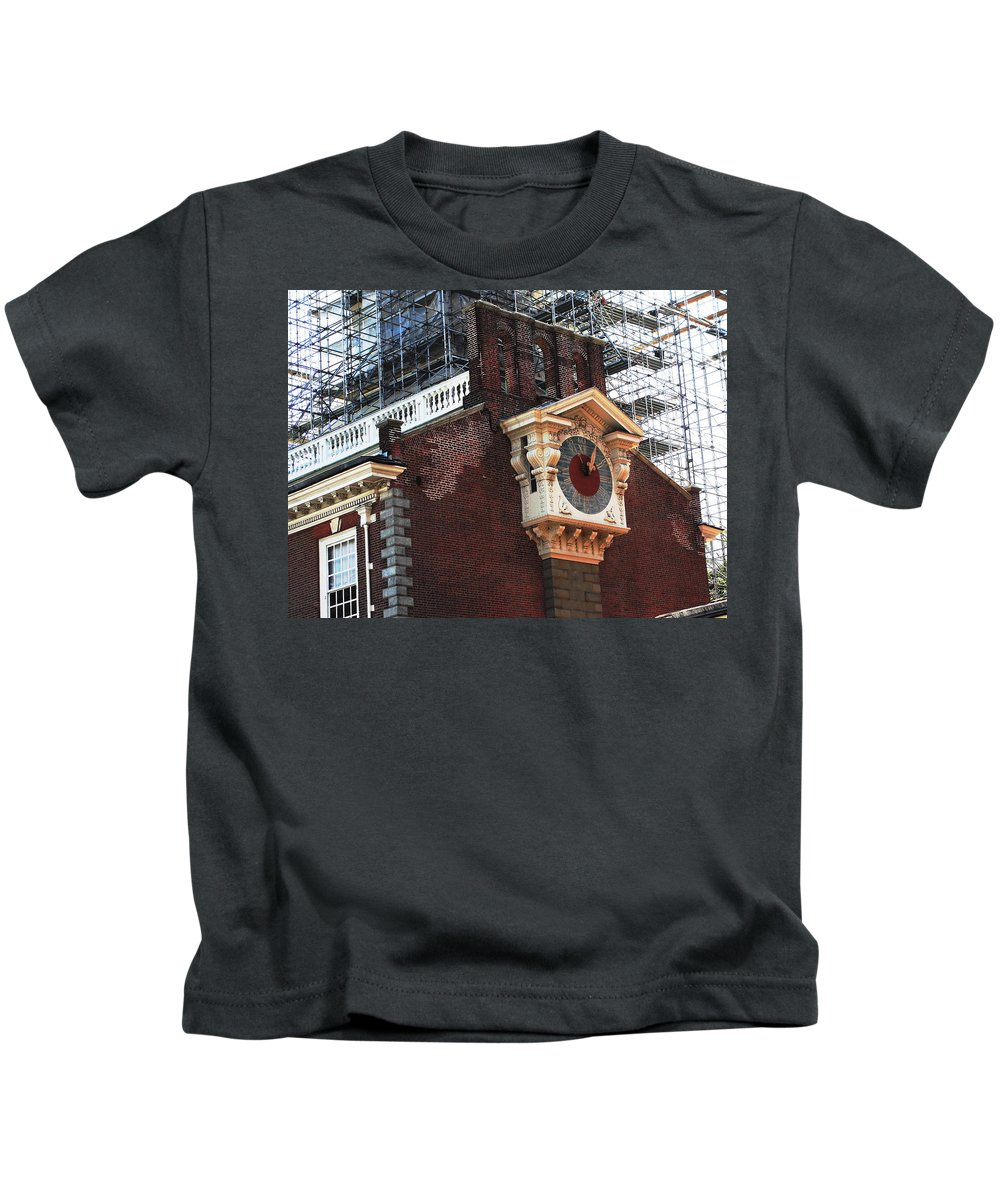 Big Antique Clock Kids T-Shirt featuring the photograph It's Time To Build by Natalie Ortiz